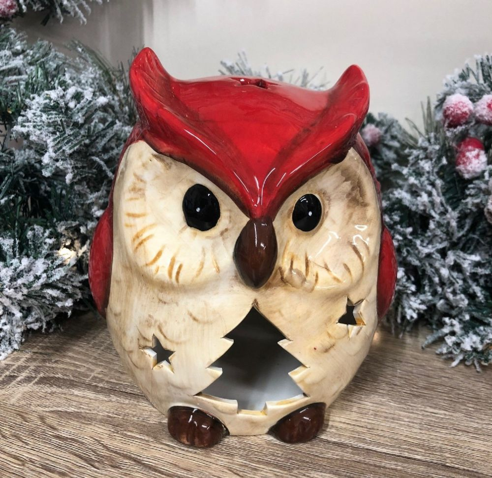Large Red Christmas Owl Ceramic Candle Holder Ornament